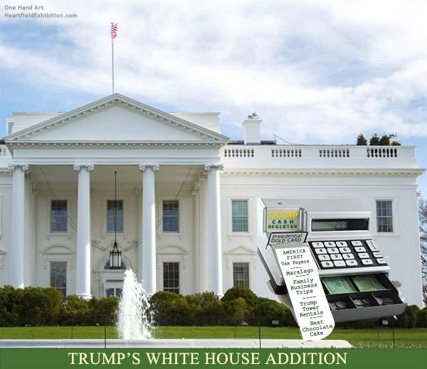 <em>Trump White House Addition</em><br />One Hand Art<br />John J Heartfield